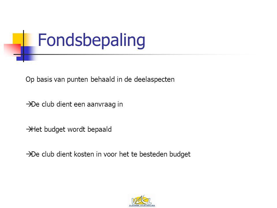 Fondsbepaling Op basis van punten behaald in de deelaspecten  De club dient een aanvraag in  Het budget wordt bepaald  De club dient kosten in voor het te besteden budget