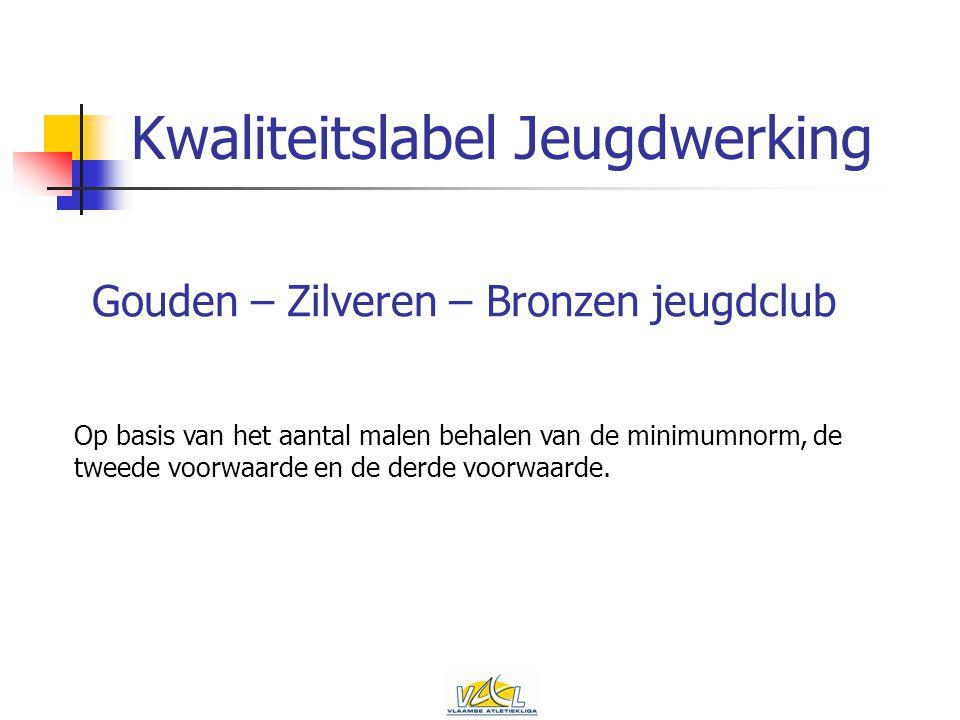 Kwaliteitslabel Jeugdwerking Gouden – Zilveren – Bronzen jeugdclub Op basis van het aantal malen behalen van de minimumnorm, de tweede voorwaarde en de derde voorwaarde.