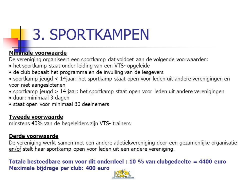 3. SPORTKAMPEN Minimale voorwaarde De vereniging organiseert een sportkamp dat voldoet aan de volgende voorwaarden: het sportkamp staat onder leiding