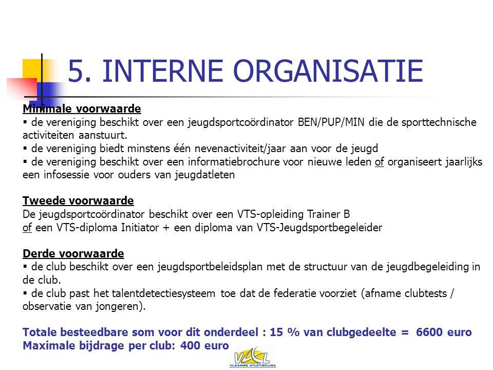 5. INTERNE ORGANISATIE Minimale voorwaarde  de vereniging beschikt over een jeugdsportcoördinator BEN/PUP/MIN die de sporttechnische activiteiten aan