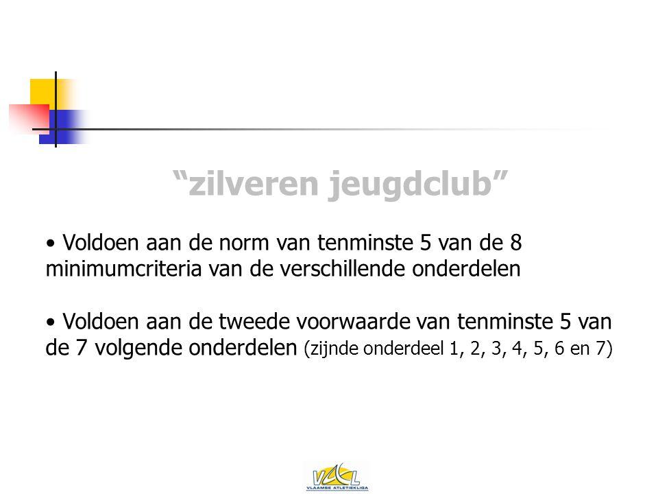 zilveren jeugdclub Voldoen aan de norm van tenminste 5 van de 8 minimumcriteria van de verschillende onderdelen Voldoen aan de tweede voorwaarde van tenminste 5 van de 7 volgende onderdelen (zijnde onderdeel 1, 2, 3, 4, 5, 6 en 7)