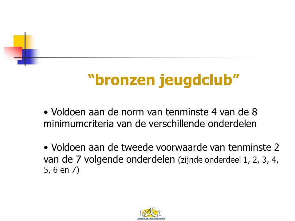 bronzen jeugdclub Voldoen aan de norm van tenminste 4 van de 8 minimumcriteria van de verschillende onderdelen Voldoen aan de tweede voorwaarde van tenminste 2 van de 7 volgende onderdelen (zijnde onderdeel 1, 2, 3, 4, 5, 6 en 7)
