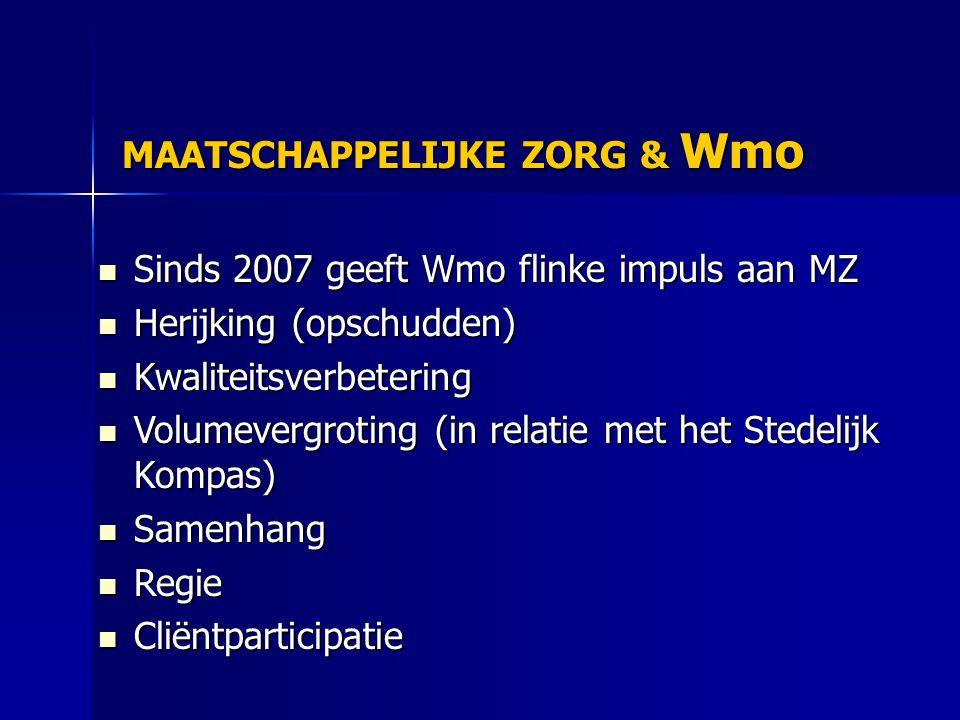 MAATSCHAPPELIJKE ZORG & Wmo Sinds 2007 geeft Wmo flinke impuls aan MZ Sinds 2007 geeft Wmo flinke impuls aan MZ Herijking (opschudden) Herijking (opschudden) Kwaliteitsverbetering Kwaliteitsverbetering Volumevergroting (in relatie met het Stedelijk Kompas) Volumevergroting (in relatie met het Stedelijk Kompas) Samenhang Samenhang Regie Regie Cliëntparticipatie Cliëntparticipatie