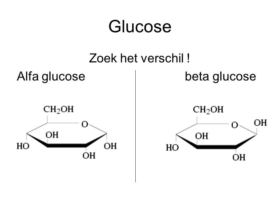 Glucose Zoek het verschil ! Alfa glucosebeta glucose
