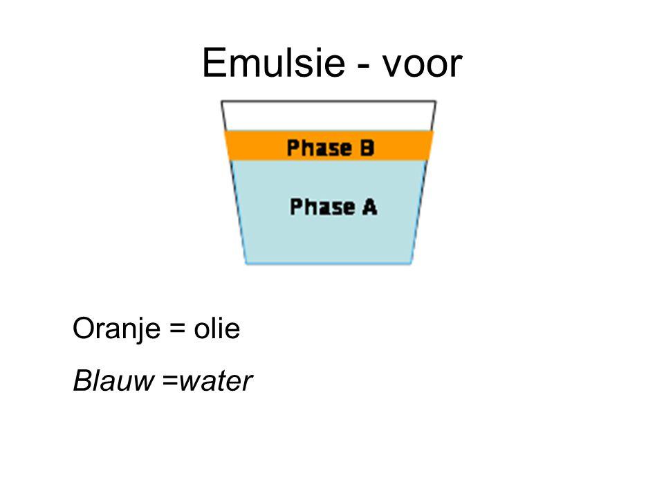 Emulsie - voor Oranje = olie Blauw =water