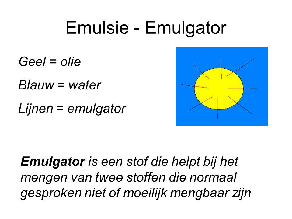Emulsie - Emulgator Geel = olie Blauw = water Lijnen = emulgator Emulgator is een stof die helpt bij het mengen van twee stoffen die normaal gesproken