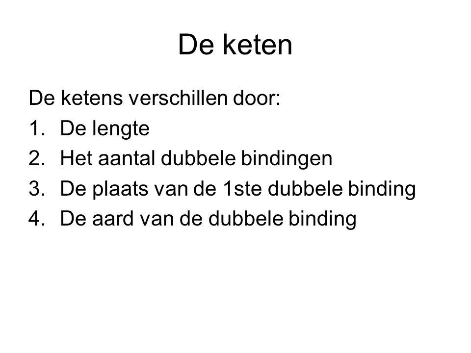 De keten De ketens verschillen door: 1.De lengte 2.Het aantal dubbele bindingen 3.De plaats van de 1ste dubbele binding 4.De aard van de dubbele bindi