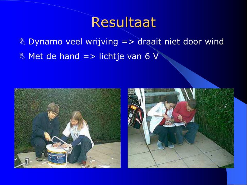 Resultaat B Dynamo veel wrijving => draait niet door wind  Met de hand => lichtje van 6 V