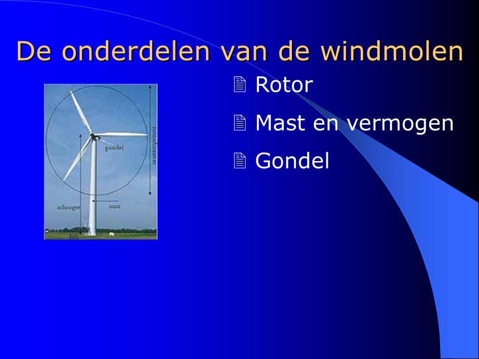 De rotor > Wieken, opvangen van wind > Diameter @ Vroeger: 10 - 15 meter @ Nu: meer dan 70 meter > Materiaal @ Lichte materialen @ Veel gebruikte materialen v Glasvezel v Carbonvezels v Polyester