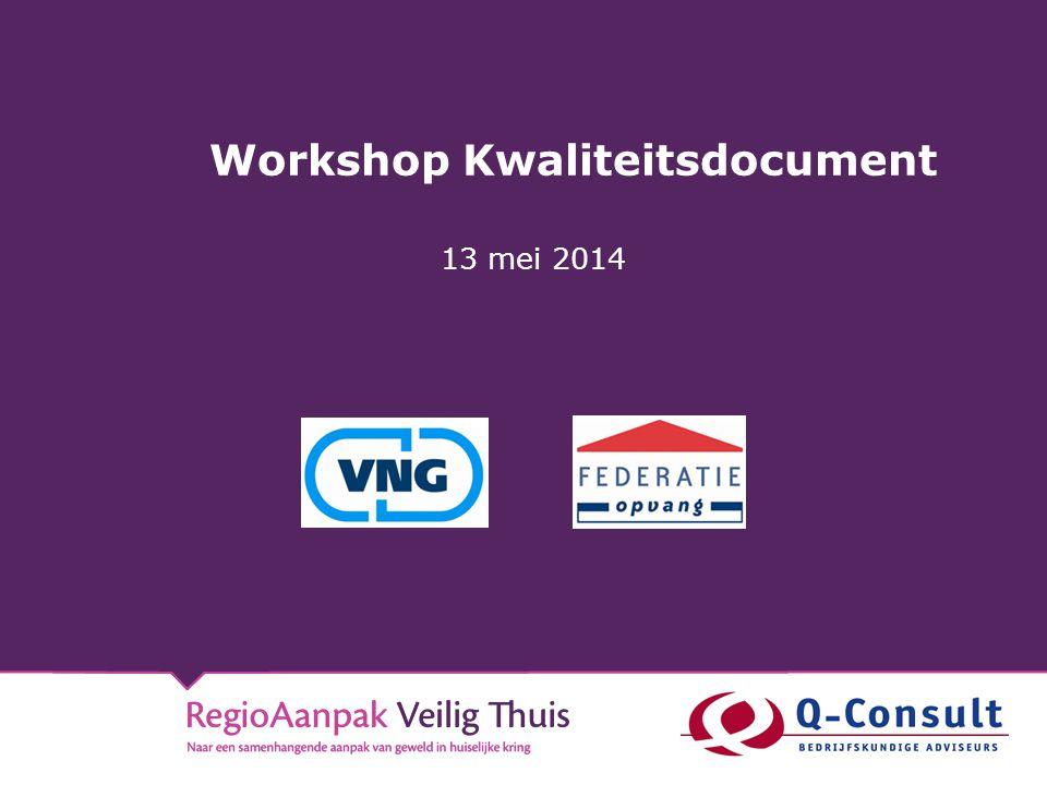 Workshop Kwaliteitsdocument 13 mei 2014
