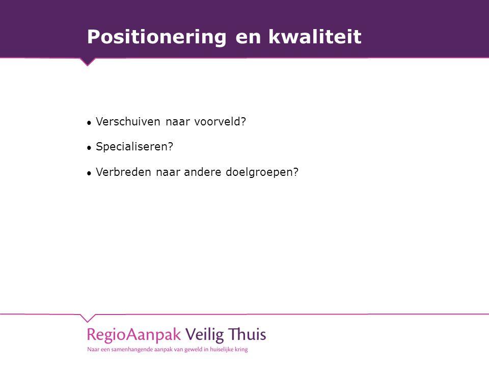 Positionering en kwaliteit Verschuiven naar voorveld? Specialiseren? Verbreden naar andere doelgroepen?