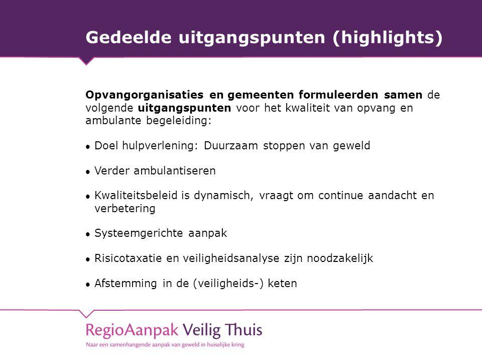 Gedeelde uitgangspunten (highlights) Opvangorganisaties en gemeenten formuleerden samen de volgende uitgangspunten voor het kwaliteit van opvang en am