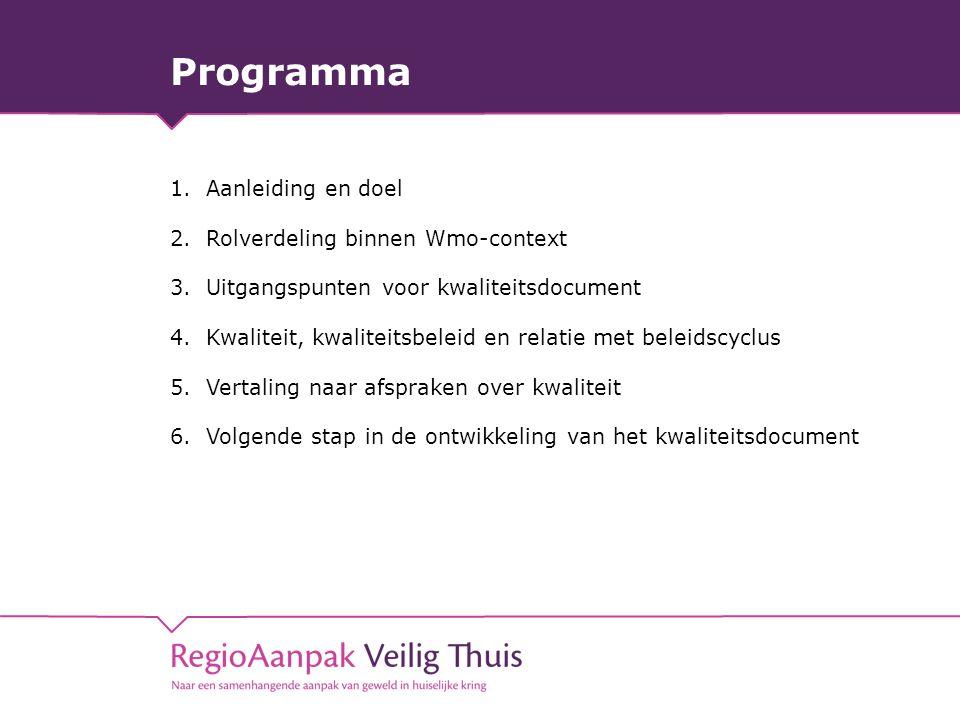 Programma 1.Aanleiding en doel 2.Rolverdeling binnen Wmo-context 3.Uitgangspunten voor kwaliteitsdocument 4.Kwaliteit, kwaliteitsbeleid en relatie met