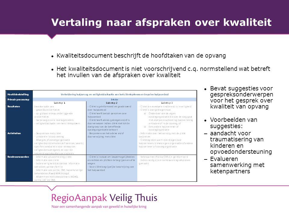 Vertaling naar afspraken over kwaliteit Kwaliteitsdocument beschrijft de hoofdtaken van de opvang Het kwaliteitsdocument is niet voorschrijvend c.q. n