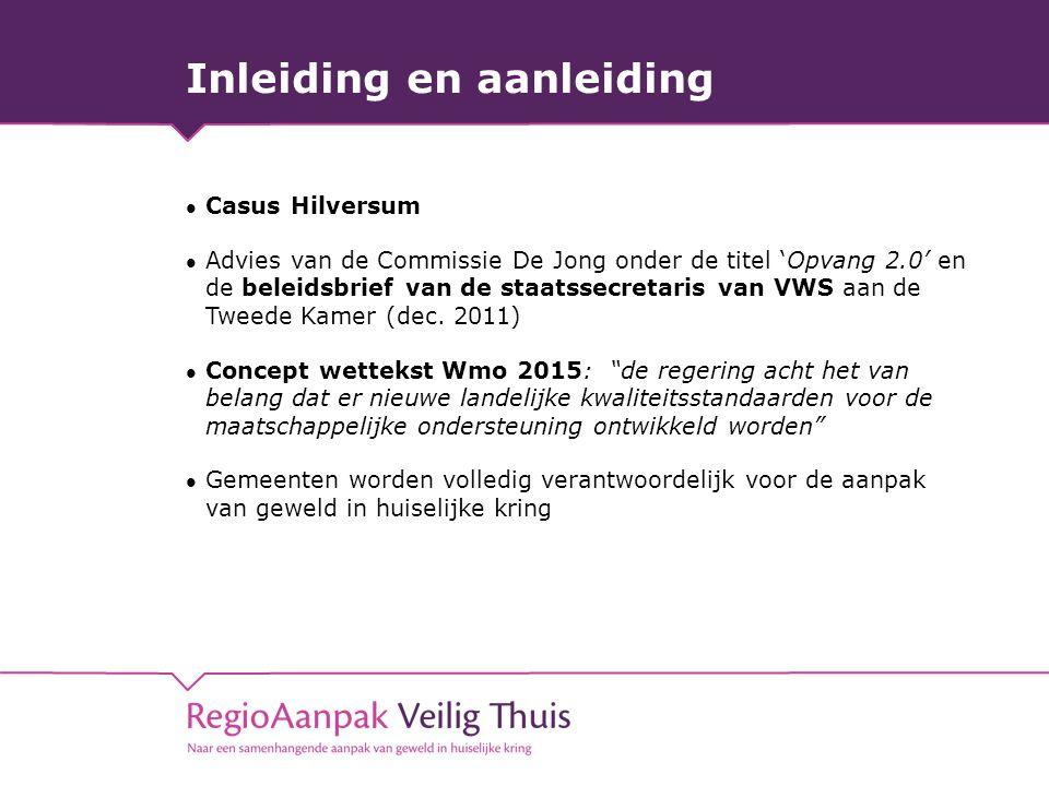 Inleiding en aanleiding Casus Hilversum Advies van de Commissie De Jong onder de titel 'Opvang 2.0' en de beleidsbrief van de staatssecretaris van VWS