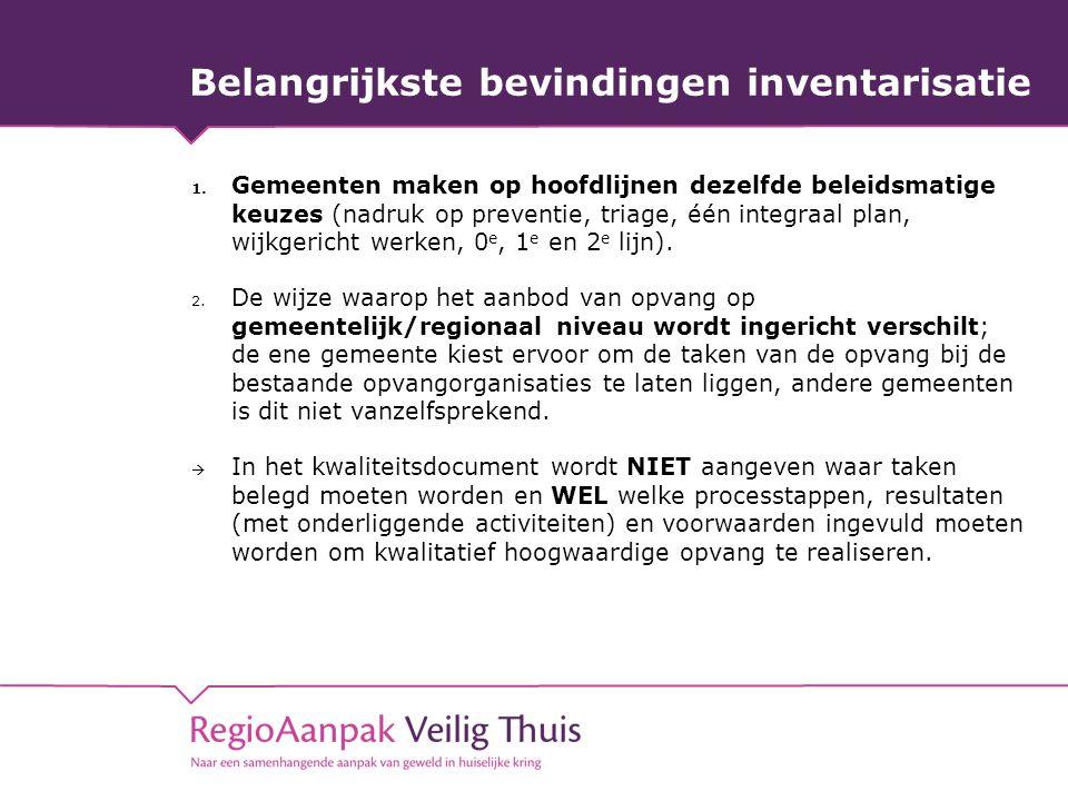 Belangrijkste bevindingen inventarisatie 1. Gemeenten maken op hoofdlijnen dezelfde beleidsmatige keuzes (nadruk op preventie, triage, één integraal p