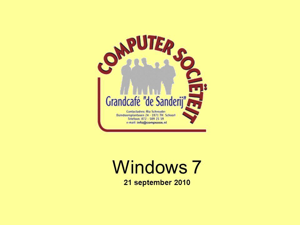 Windows 7 Highlights De instellingen van Windows 7 kunnen via Configuratiescherm bekeken en ook gewijzigd worden.