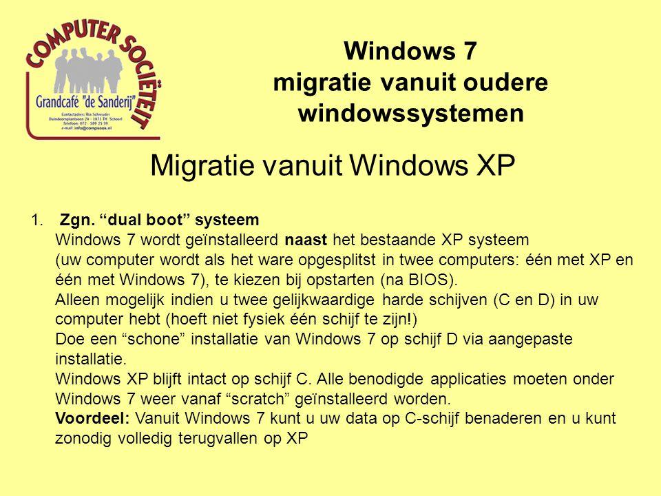 Migratie vanuit Windows XP Windows 7 migratie vanuit oudere windowssystemen 2. Overschrijven Windows XP Een schone installatie op schijf C waardoor Windows XP wordt overschreven .