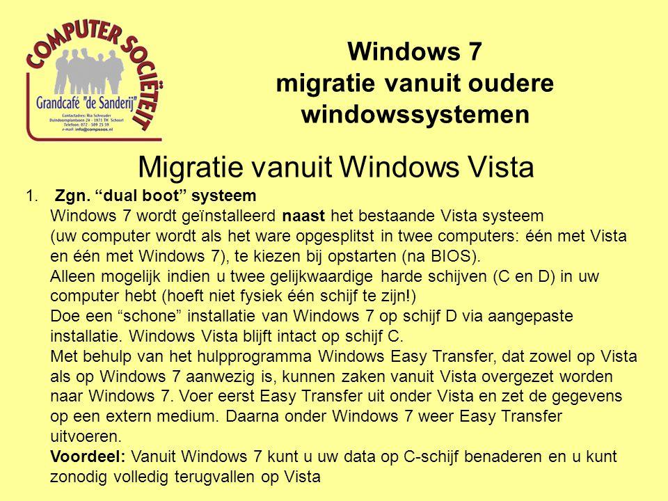 Migratie vanuit Windows Vista Windows 7 migratie vanuit oudere windowssystemen 1.