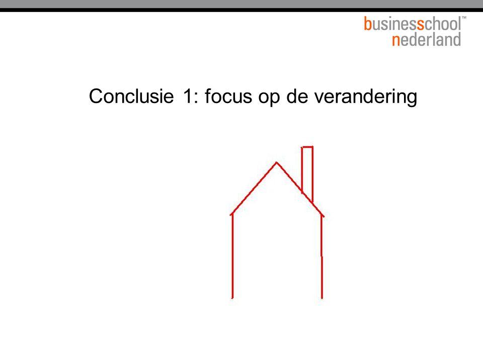 Conclusie 1: focus op de verandering