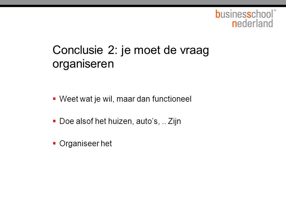 Conclusie 2: je moet de vraag organiseren  Weet wat je wil, maar dan functioneel  Doe alsof het huizen, auto's,..