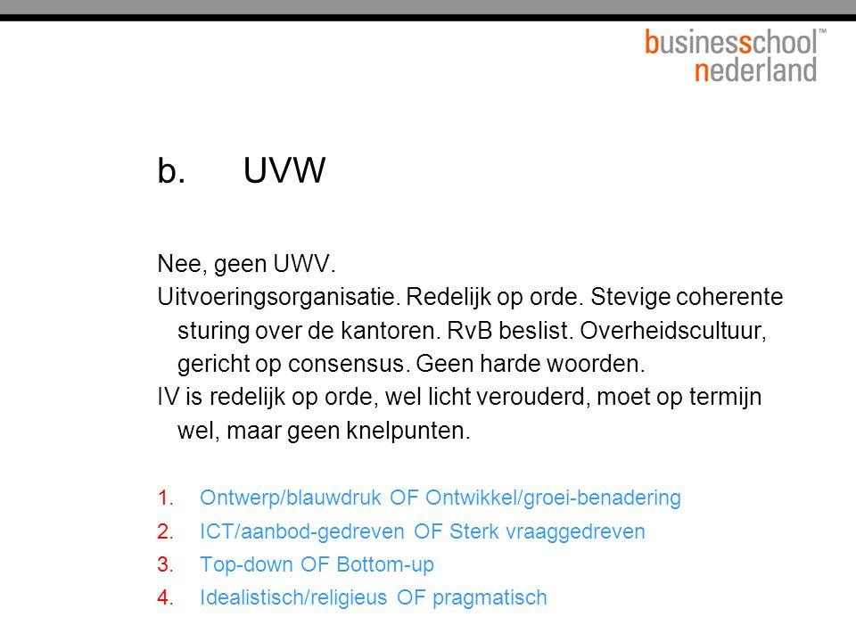 b.UVW Nee, geen UWV.Uitvoeringsorganisatie. Redelijk op orde.