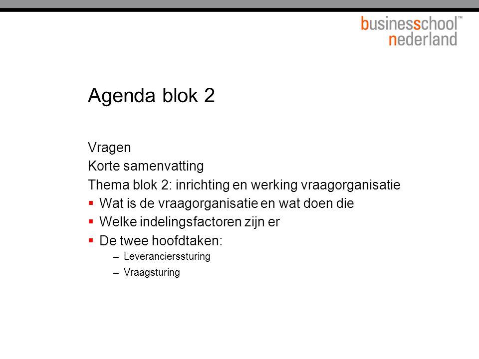Agenda blok 2 Vragen Korte samenvatting Thema blok 2: inrichting en werking vraagorganisatie  Wat is de vraagorganisatie en wat doen die  Welke indelingsfactoren zijn er  De twee hoofdtaken: –Leverancierssturing –Vraagsturing