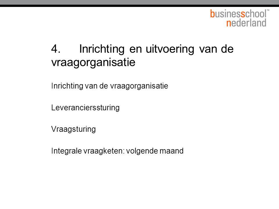 4.Inrichting en uitvoering van de vraagorganisatie Inrichting van de vraagorganisatie Leverancierssturing Vraagsturing Integrale vraagketen: volgende maand