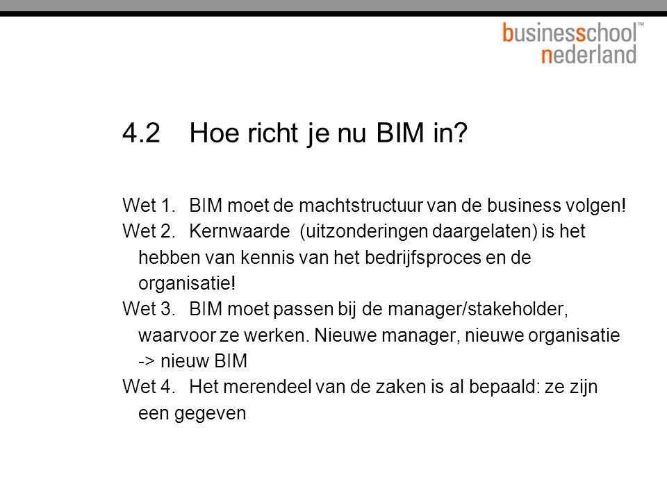 4.2Hoe richt je nu BIM in.Wet 1.BIM moet de machtstructuur van de business volgen.