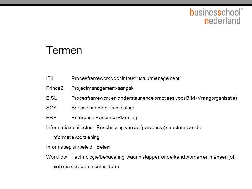 Termen ITILProcesframework voor infrastructuurmanagement Prince2Projectmanagement-aanpak BiSLProcesframework en ondersteunende practises voor BIM (Vraagorganisatie) SOAService oriented architecture ERPEnterprise Resource Planning InformatiearchitectuurBeschrijving van de (gewenste) structuur van de informatievoorziening Informatieplan/beleidBeleid WorkflowTechnologie/benadering, waarin stappen onderkend worden en mensen (of niet) die stappen moeten doen