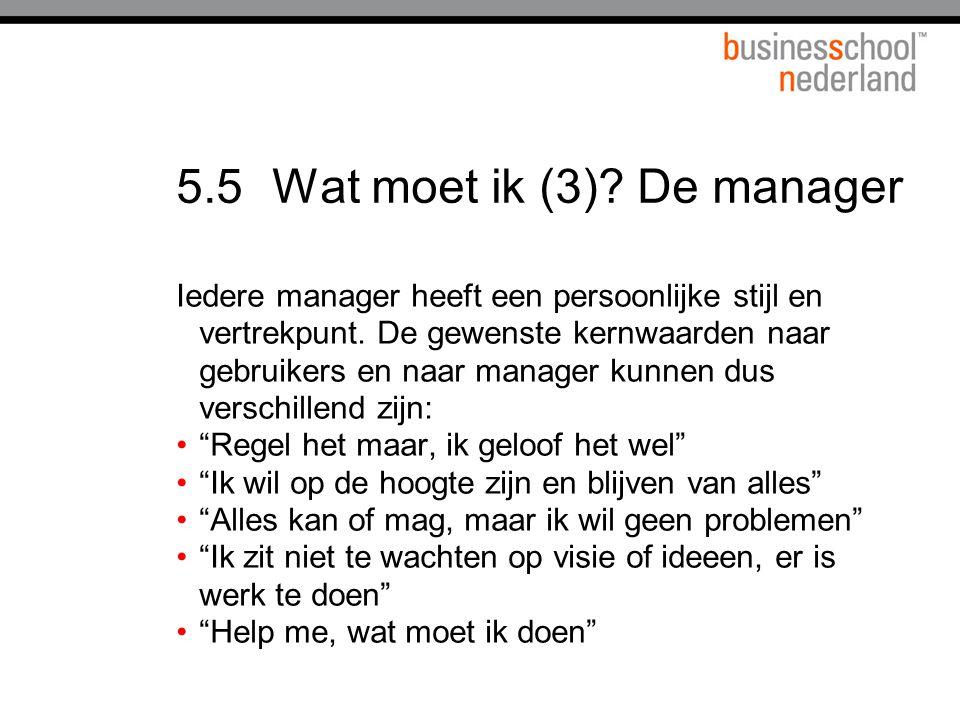 5.5Wat moet ik (3).De manager Iedere manager heeft een persoonlijke stijl en vertrekpunt.