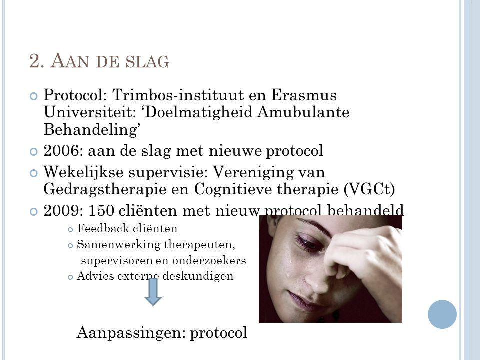 2. A AN DE SLAG Protocol: Trimbos-instituut en Erasmus Universiteit: 'Doelmatigheid Amubulante Behandeling' 2006: aan de slag met nieuwe protocol Weke
