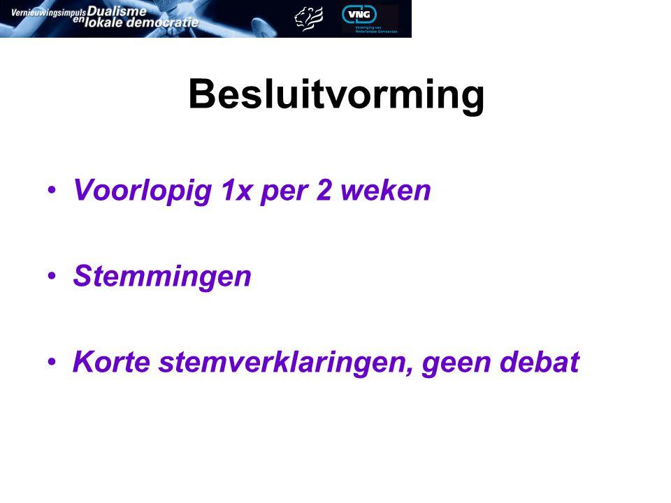 Besluitvorming Voorlopig 1x per 2 weken Stemmingen Korte stemverklaringen, geen debat