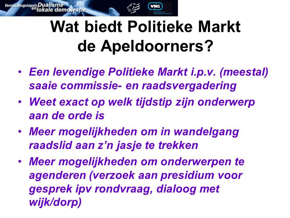 Wat biedt Politieke Markt de Apeldoorners. Een levendige Politieke Markt i.p.v.