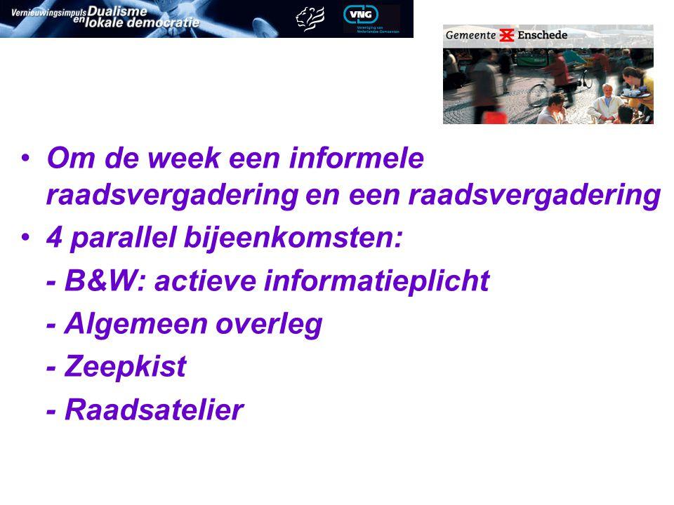 Om de week een informele raadsvergadering en een raadsvergadering 4 parallel bijeenkomsten: - B&W: actieve informatieplicht - Algemeen overleg - Zeepkist - Raadsatelier