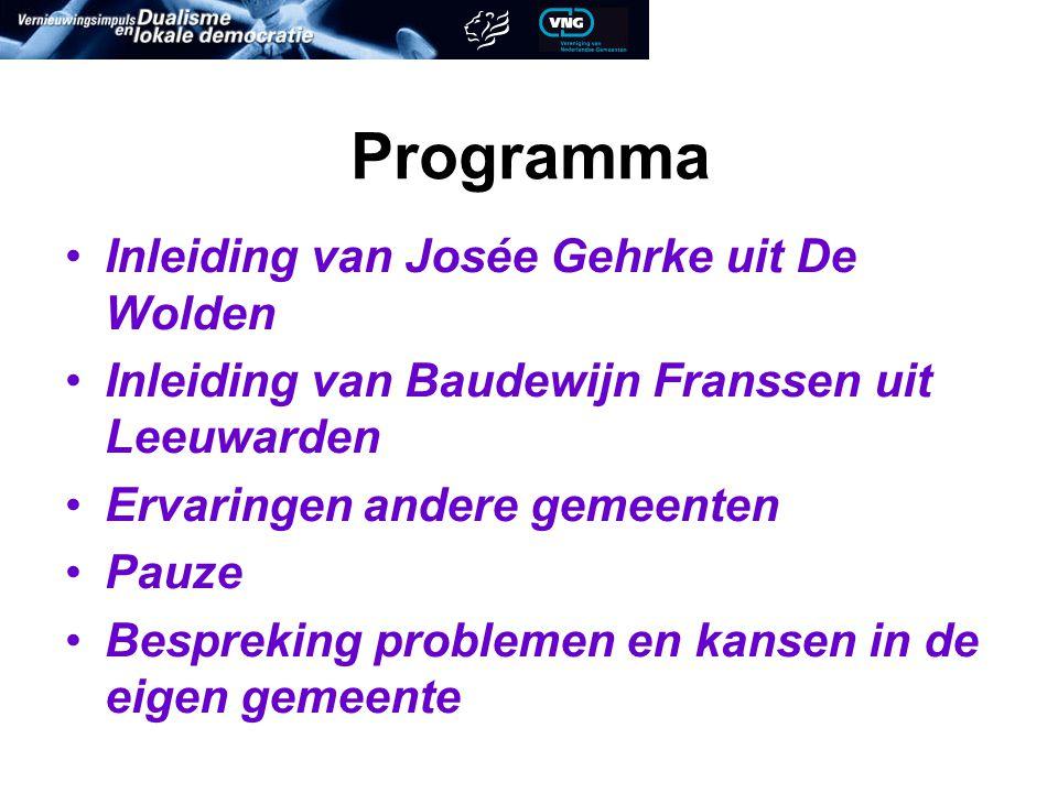 Programma Inleiding van Josée Gehrke uit De Wolden Inleiding van Baudewijn Franssen uit Leeuwarden Ervaringen andere gemeenten Pauze Bespreking problemen en kansen in de eigen gemeente