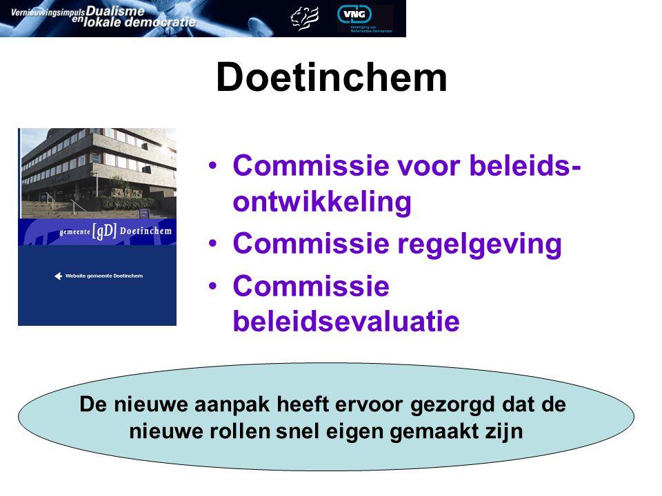 Doetinchem Commissie voor beleids- ontwikkeling Commissie regelgeving Commissie beleidsevaluatie De nieuwe aanpak heeft ervoor gezorgd dat de nieuwe rollen snel eigen gemaakt zijn