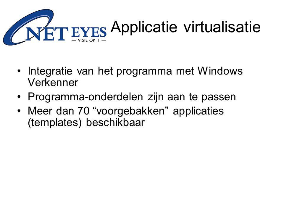 Integratie van het programma met Windows Verkenner Programma-onderdelen zijn aan te passen Meer dan 70 voorgebakken applicaties (templates) beschikbaar Applicatie virtualisatie
