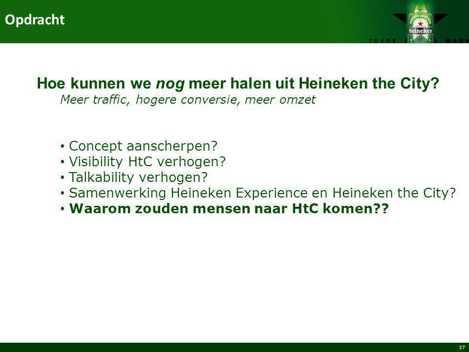 27 Hoe kunnen we nog meer halen uit Heineken the City? Meer traffic, hogere conversie, meer omzet Concept aanscherpen? Visibility HtC verhogen? Talkab