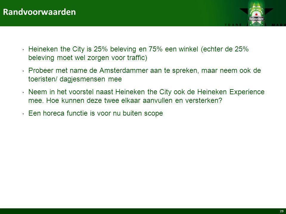 29 Heineken the City is 25% beleving en 75% een winkel (echter de 25% beleving moet wel zorgen voor traffic) Probeer met name de Amsterdammer aan te s