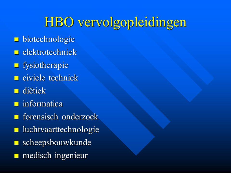 HBO vervolgopleidingen biotechnologie biotechnologie elektrotechniek elektrotechniek fysiotherapie fysiotherapie civiele techniek civiele techniek dië