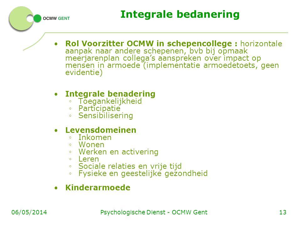 Psychologische Dienst - OCMW Gent1306/05/2014 Integrale bedanering Rol Voorzitter OCMW in schepencollege : horizontale aanpak naar andere schepenen, b