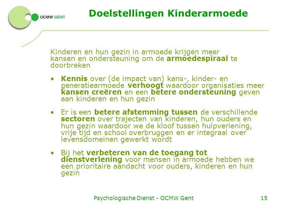 Psychologische Dienst - OCMW Gent15 Doelstellingen Kinderarmoede Kinderen en hun gezin in armoede krijgen meer kansen en ondersteuning om de armoedespiraal te doorbreken Kennis over (de impact van) kans-, kinder- en generatiearmoede verhoogt waardoor organisaties meer kansen creëren en een betere ondersteuning geven aan kinderen en hun gezin Er is een betere afstemming tussen de verschillende sectoren over trajecten van kinderen, hun ouders en hun gezin waardoor we de kloof tussen hulpverlening, vrije tijd en school overbruggen en er integraal over levensdomeinen gewerkt wordt Bij het verbeteren van de toegang tot dienstverlening voor mensen in armoede hebben we een prioritaire aandacht voor ouders, kinderen en hun gezin