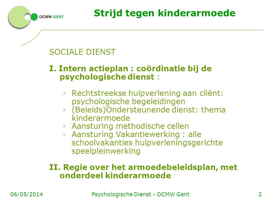Psychologische Dienst - OCMW Gent206/05/2014 Strijd tegen kinderarmoede SOCIALE DIENST I. Intern actieplan : coördinatie bij de psychologische dienst