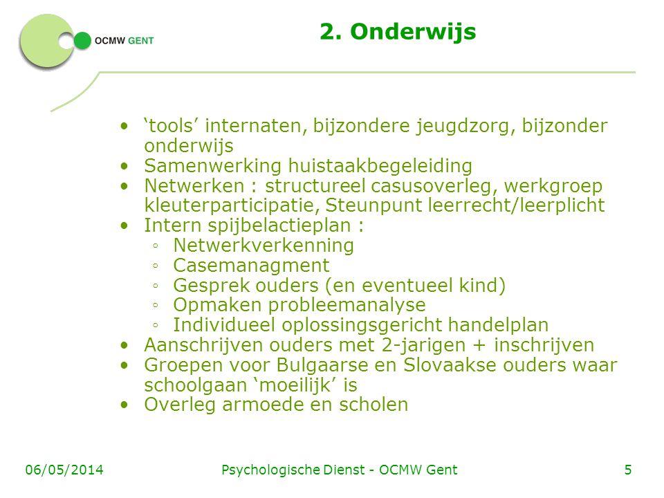 Psychologische Dienst - OCMW Gent506/05/2014 2. Onderwijs 'tools' internaten, bijzondere jeugdzorg, bijzonder onderwijs Samenwerking huistaakbegeleidi