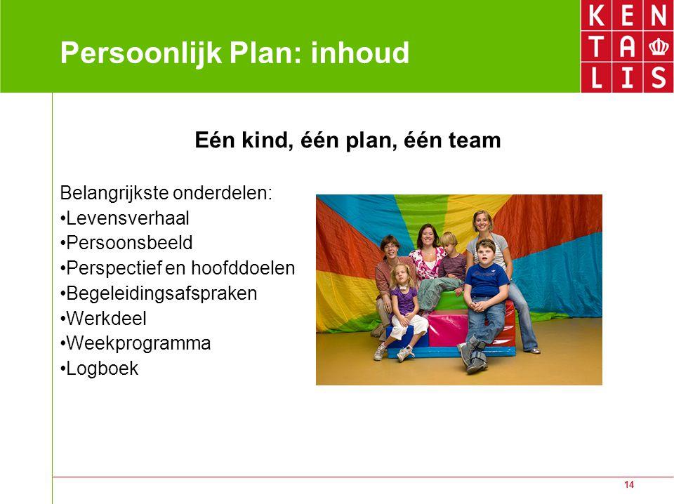 14 Persoonlijk Plan: inhoud Eén kind, één plan, één team Belangrijkste onderdelen: Levensverhaal Persoonsbeeld Perspectief en hoofddoelen Begeleidingsafspraken Werkdeel Weekprogramma Logboek