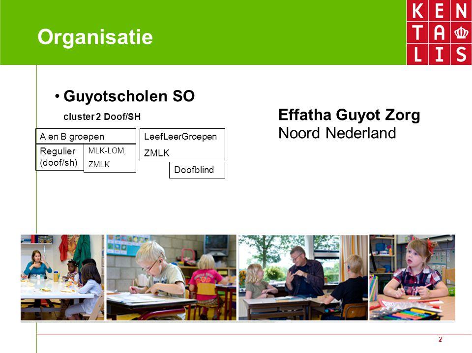 2 Organisatie Guyotscholen SO cluster 2 Doof/SH Effatha Guyot Zorg Noord Nederland A en B groepen Regulier (doof/sh) MLK-LOM, ZMLK LeefLeerGroepen ZMLK Doofblind