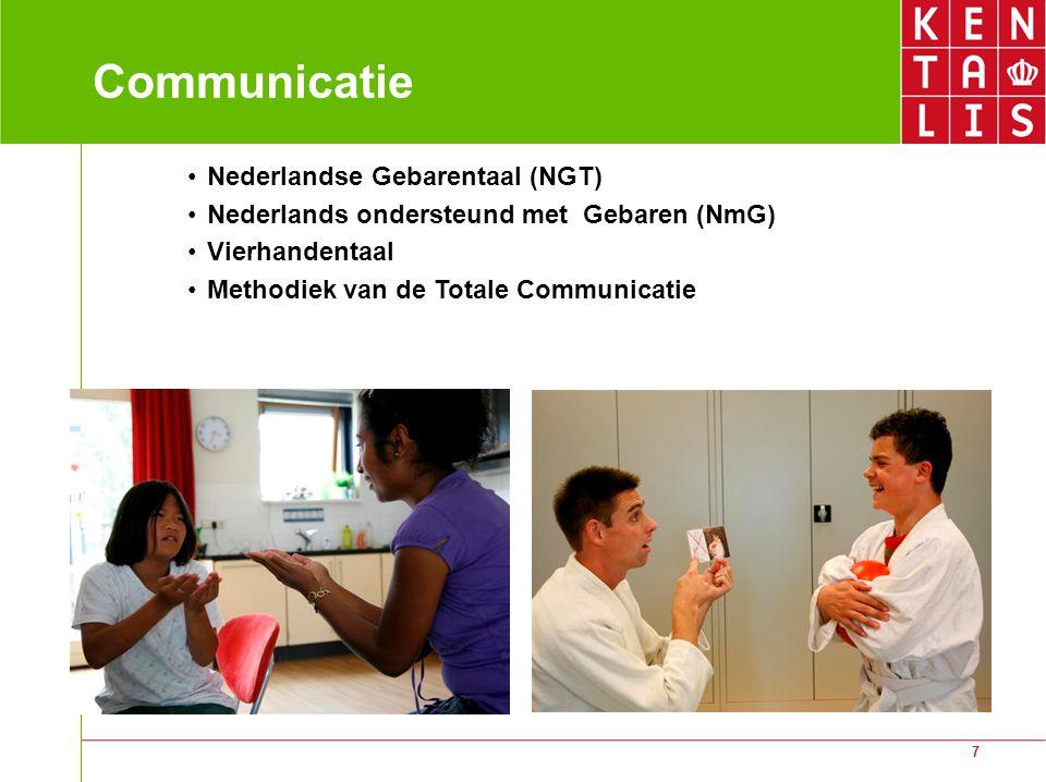7 Communicatie Nederlandse Gebarentaal (NGT) Nederlands ondersteund met Gebaren (NmG) Vierhandentaal Methodiek van de Totale Communicatie
