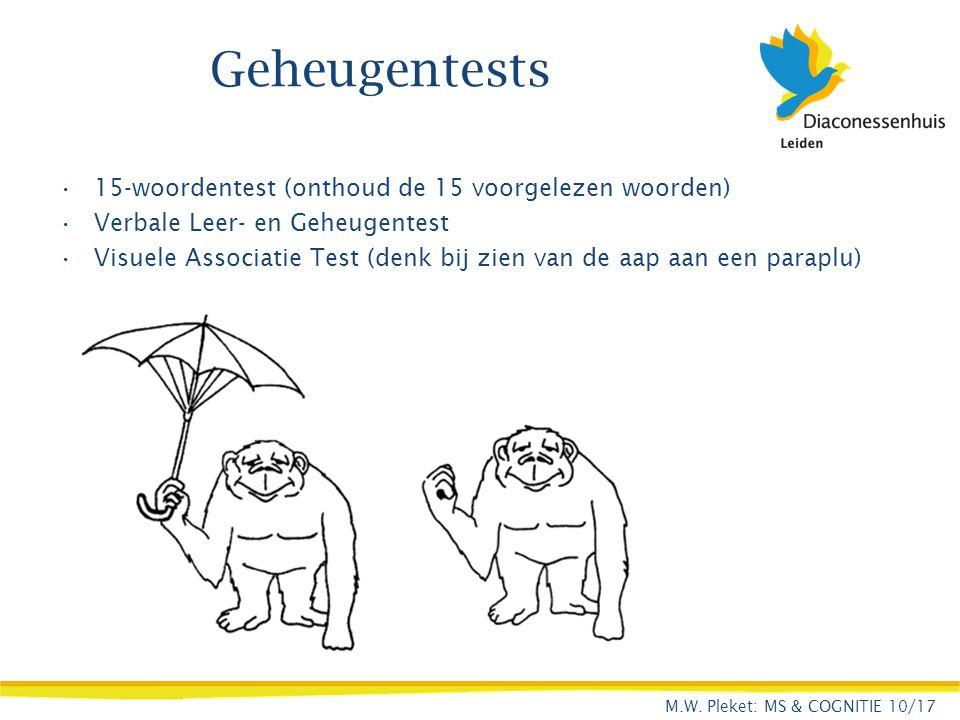 Geheugentests 15-woordentest (onthoud de 15 voorgelezen woorden) Verbale Leer- en Geheugentest Visuele Associatie Test (denk bij zien van de aap aan e
