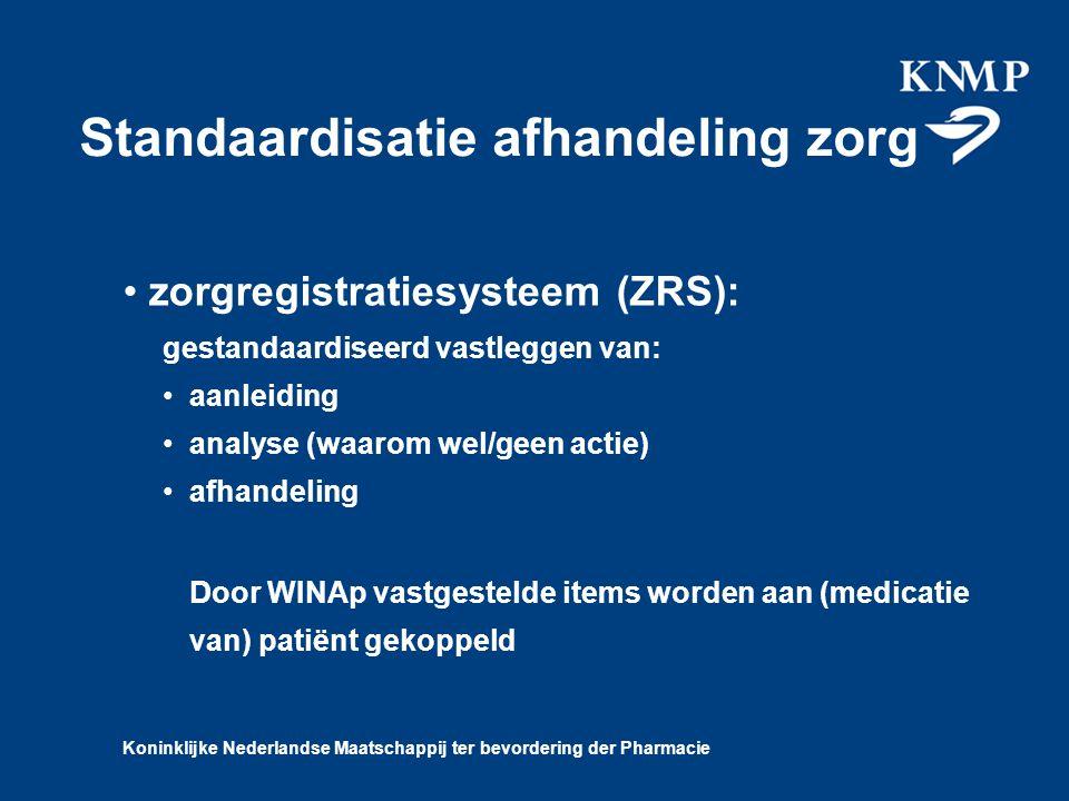 Koninklijke Nederlandse Maatschappij ter bevordering der Pharmacie Standaardisatie afhandeling zorg zorgregistratiesysteem (ZRS): gestandaardiseerd vastleggen van: aanleiding analyse (waarom wel/geen actie) afhandeling D oor WINAp vastgestelde items worden aan (medicatie van) patiënt gekoppeld